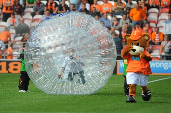 Blackpool mascot Bloomfield Bear is chased by a Fulham fan in a Zorb at half-time