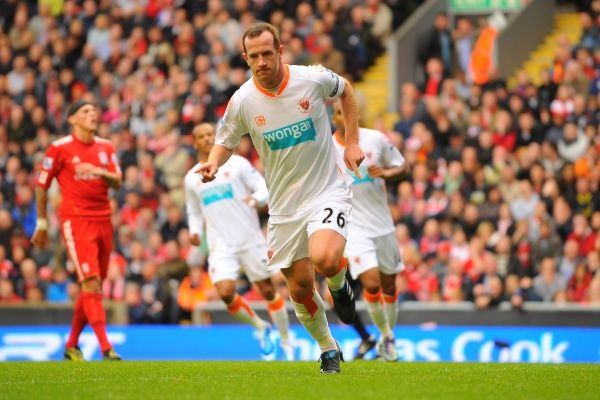 Blackpool's Charlie Adam celebrates after scoring the opening goal of the game