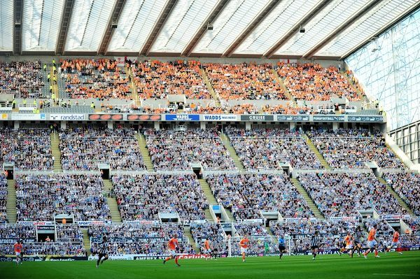 General view of Blackpool fans in the stands at St James' Park