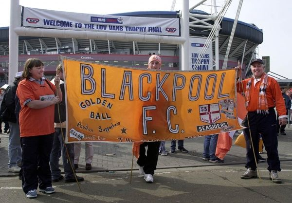 Blackpool fans arrive outside the Millennium Stadium, Cardiff, before the start of the LDV Vans Trophy Final, against Cambridge United