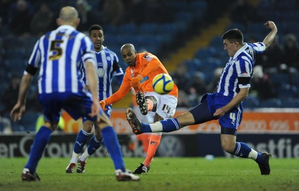 Blackpool's Ludovic Sylvestre Scores his sides third goal against Sheffield Wednesday