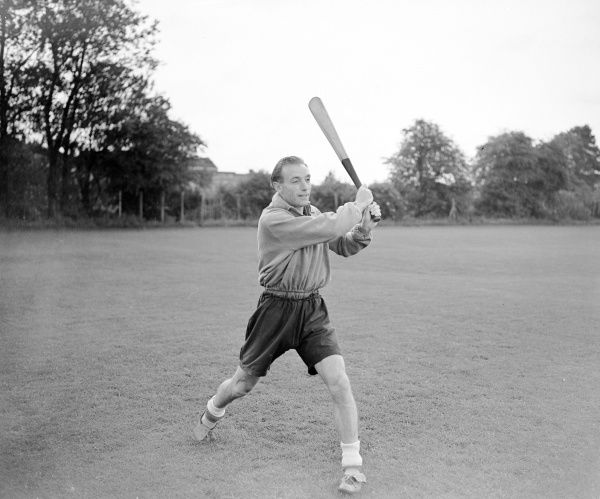 Blackpool's Stanley Matthews tries his hand at baseball