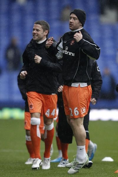 Blackpool's James Beattie (left) and his team-mate Charlie Adam during the pre-match warm-up