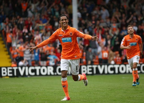 Blackpool's Thomas Ince celebrates his goal during the npower Football League Championship match at Bloomfield Road, Blackpool