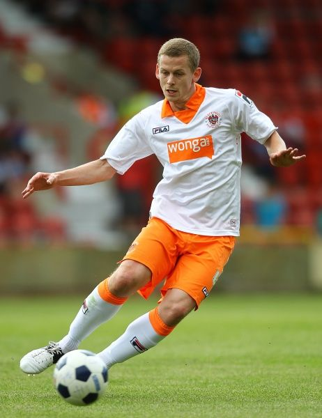 Blackpool's Scott Robertson during the game against Wrexham