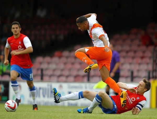 York City's Daniel Parslow and Blackpool's Nathan Eccleston