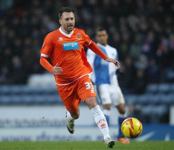 Blackpool's Stephen Dobbie during the game against Blackburn Rovers