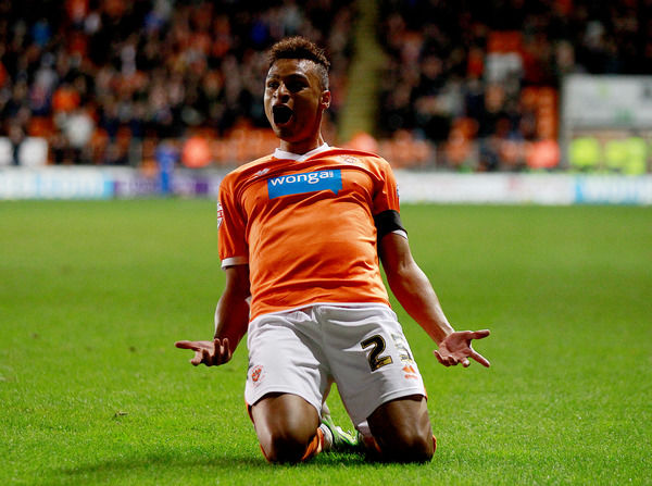 Blackpool's Jacob Murphy celebrates scoring from this free-kick against Bolton Wanderers