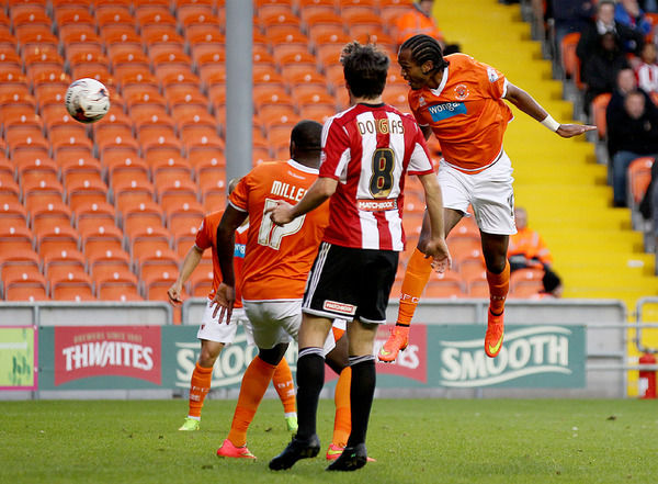 Blackpool's Nathan Delfouneso scores against Brentford with this header
