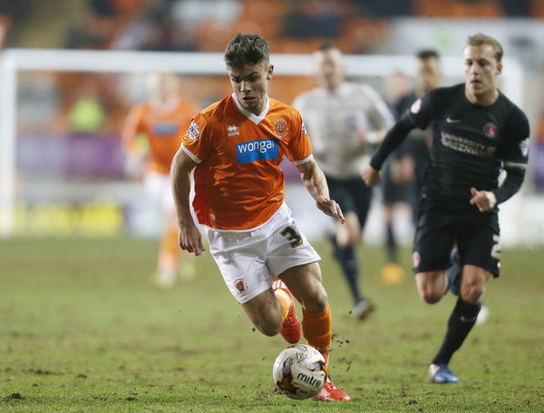Blackpool's Dom Telford goes on the attack against Charlton Athletic