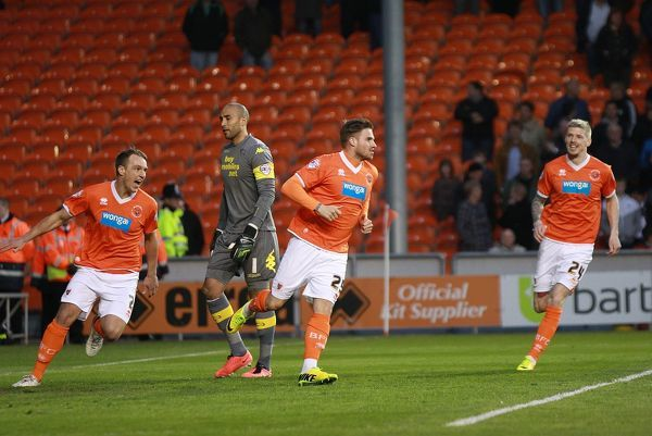 Blackpool's David Goodwillie celebrates scoring against Derby County with his team mates
