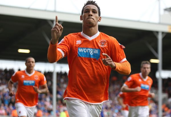 Blackpool's Tom Ince celebrates scoring his penalty against Leicester late in the game to equalise