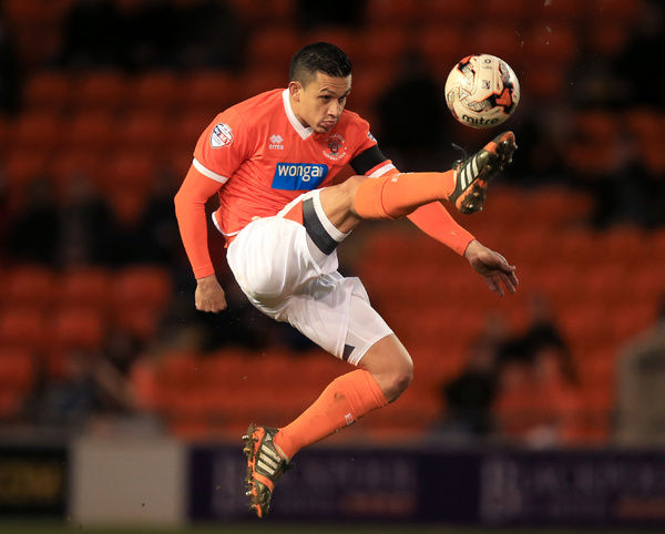 Blackpool's Jose Miguel Cubero controls the ball during the Sky Bet Championship match at Bloomfield Road, Blackpool