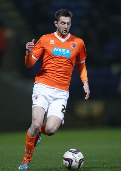 Blackpool's Tom Barkhuizen during the game against Bolton Wanderers