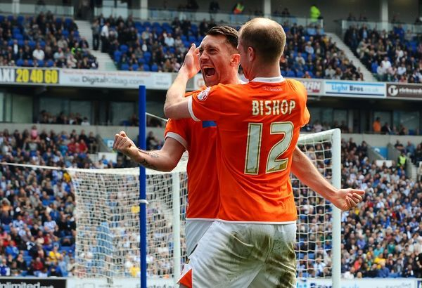 Blackpool's Stephen Dobbie celebrates his equalising goal during the Sky Bet Championship match at the AMEX Stadium, Brighton