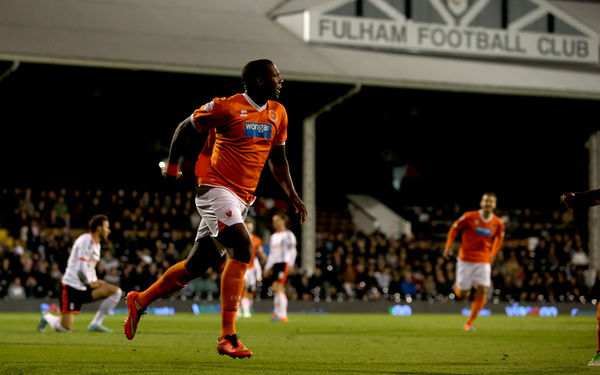 Blackpool's Ishmael Miller celebrates scoring his sides first goal of the game