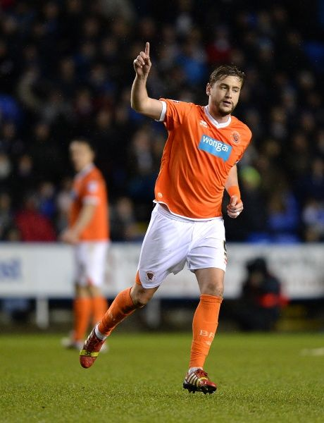 Blackpool's Steven Davies celebrates after he scores his side's first goal of the game