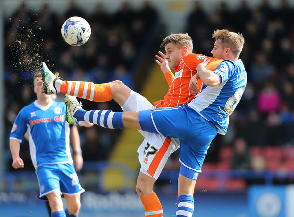 Rochdale's Oliver Lancashire and Blackpool's Jacob Blyth