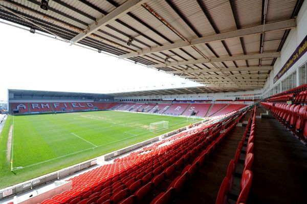 General view of the interior of Bloomfield Road, home to Blackpool