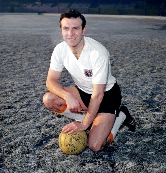 Jimmy Armfield of Blackpool wearing his England shirt