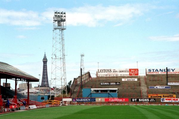 Bloomfield Road, home of Blackpool, with tower in background