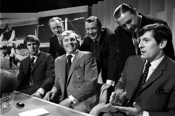 From left: Geoff Hurst, Bobby Moore, Alan Mullery, Tom Finney, Johnny Haynes, Stan Mortensen during recording for the BBC 1 quiz show A Question of Sport at the BBC TV Centre in London